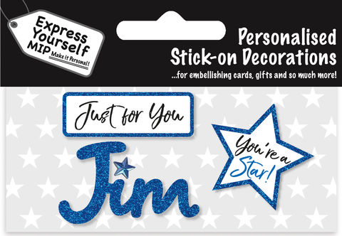 Sticker,-,Jim,Craft, DIY, MIP, Make It Personal, Card Making, Personalised, Flittered, Personalising Cards, Gifts, Notebooks, Albums, Files, Toy Boxes, Door Plaques, Party Bags, Balloons, You Name it, Sticker, Birthday, Words, Stick On Decoration, Blue, Star, Banner