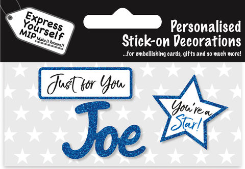 Sticker,-,Joe,Craft, DIY, MIP, Make It Personal, Card Making, Personalised, Flittered, Personalising Cards, Gifts, Notebooks, Albums, Files, Toy Boxes, Door Plaques, Party Bags, Balloons, You Name it, Sticker, Birthday, Words, Stick On Decoration, Blue, Star, Banner