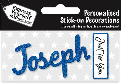 Sticker,-,Joseph,Craft, DIY, MIP, Make It Personal, Card Making, Personalised, Flittered, Personalising Cards, Gifts, Notebooks, Albums, Files, Toy Boxes, Door Plaques, Party Bags, Balloons, You Name it, Sticker, Birthday, Words, Stick On Decoration, Blue, Banner
