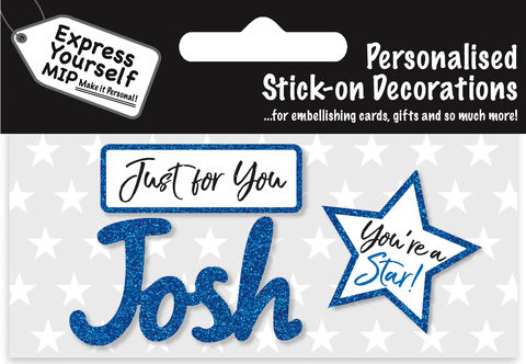 Sticker,-,Josh,Craft, DIY, MIP, Make It Personal, Card Making, Personalised, Flittered, Personalising Cards, Gifts, Notebooks, Albums, Files, Toy Boxes, Door Plaques, Party Bags, Balloons, You Name it, Sticker, Birthday, Words, Stick On Decoration, Blue, Star, Banner
