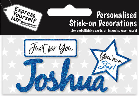 Sticker,-,Joshua,Craft, DIY, MIP, Make It Personal, Card Making, Personalised, Flittered, Personalising Cards, Gifts, Notebooks, Albums, Files, Toy Boxes, Door Plaques, Party Bags, Balloons, You Name it, Sticker, Birthday, Words, Stick On Decoration, Blue, Star, Banner