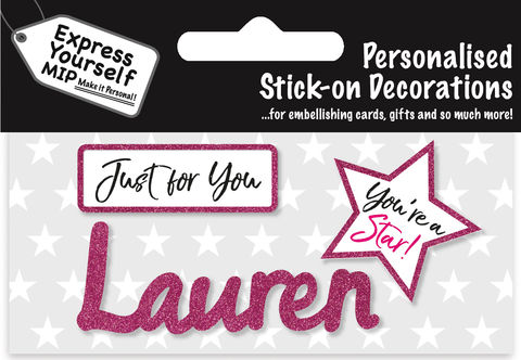 Sticker,-,Lauren,Craft, DIY, MIP, Make It Personal, Card Making, Personalised, Flittered, Personalising Cards, Gifts, Notebooks, Albums, Files, Toy Boxes, Door Plaques, Party Bags, Balloons, You Name it, Sticker, Birthday, Words, Stick On Decoration, Pink, Star, Banner