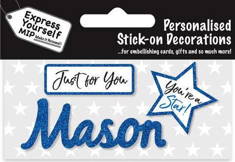 Sticker,-,Mason,Craft, DIY, MIP, Make It Personal, Card Making, Personalised, Flittered, Personalising Cards, Gifts, Notebooks, Albums, Files, Toy Boxes, Door Plaques, Party Bags, Balloons, You Name it, Sticker, Birthday, Words, Stick On Decoration, Blue, Star, Banner