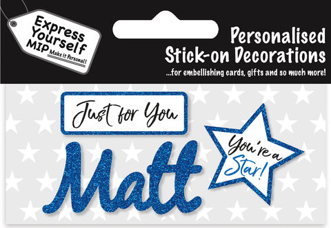 Sticker,-,Matt,Craft, DIY, MIP, Make It Personal, Card Making, Personalised, Flittered, Personalising Cards, Gifts, Notebooks, Albums, Files, Toy Boxes, Door Plaques, Party Bags, Balloons, You Name it, Sticker, Birthday, Words, Stick On Decoration, Blue, Star, Banner