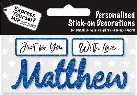 Sticker,-,Matthew,Craft, DIY, MIP, Make It Personal, Card Making, Personalised, Flittered, Personalising Cards, Gifts, Notebooks, Albums, Files, Toy Boxes, Door Plaques, Party Bags, Balloons, You Name it, Sticker, Birthday, Words, Stick On Decoration, Blue, Banner