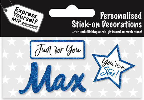 Sticker,-,Max,Craft, DIY, MIP, Make It Personal, Card Making, Personalised, Flittered, Personalising Cards, Gifts, Notebooks, Albums, Files, Toy Boxes, Door Plaques, Party Bags, Balloons, You Name it, Sticker, Birthday, Words, Stick On Decoration, Blue, Star, Banner