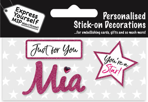 Sticker,-,Mia,Craft, DIY, MIP, Make It Personal, Card Making, Personalised, Flittered, Personalising Cards, Gifts, Notebooks, Albums, Files, Toy Boxes, Door Plaques, Party Bags, Balloons, You Name it, Sticker, Birthday, Words, Stick On Decoration, Pink, Star, Banner