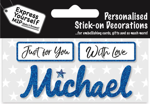 Sticker,-,Michael,Craft, DIY, MIP, Make It Personal, Card Making, Personalised, Flittered, Personalising Cards, Gifts, Notebooks, Albums, Files, Toy Boxes, Door Plaques, Party Bags, Balloons, You Name it, Sticker, Birthday, Words, Stick On Decoration, Blue, Banner
