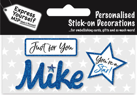 Sticker,-,Mike,Craft, DIY, MIP, Make It Personal, Card Making, Personalised, Flittered, Personalising Cards, Gifts, Notebooks, Albums, Files, Toy Boxes, Door Plaques, Party Bags, Balloons, You Name it, Sticker, Birthday, Words, Stick On Decoration, Blue, Star, Banner