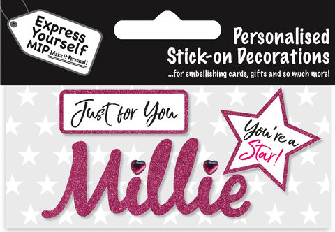 Sticker,-,Millie,Craft, DIY, MIP, Make It Personal, Card Making, Personalised, Flittered, Personalising Cards, Gifts, Notebooks, Albums, Files, Toy Boxes, Door Plaques, Party Bags, Balloons, You Name it, Sticker, Birthday, Words, Stick On Decoration, Pink, Star, Banner