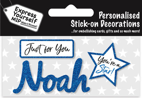 Sticker,-,Noah,Craft, DIY, MIP, Make It Personal, Card Making, Personalised, Flittered, Personalising Cards, Gifts, Notebooks, Albums, Files, Toy Boxes, Door Plaques, Party Bags, Balloons, You Name it, Sticker, Birthday, Words, Stick On Decoration, Blue, Star, Banner
