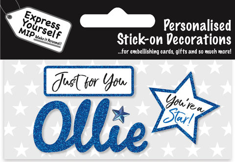 Sticker,-,Ollie,Craft, DIY, MIP, Make It Personal, Card Making, Personalised, Flittered, Personalising Cards, Gifts, Notebooks, Albums, Files, Toy Boxes, Door Plaques, Party Bags, Balloons, You Name it, Sticker, Birthday, Words, Stick On Decoration, Blue, Star, Banner