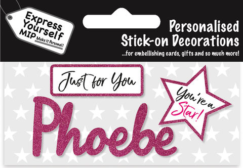Sticker,-,Phoebe,Craft, DIY, MIP, Make It Personal, Card Making, Personalised, Flittered, Personalising Cards, Gifts, Notebooks, Albums, Files, Toy Boxes, Door Plaques, Party Bags, Balloons, You Name it, Sticker, Birthday, Words, Stick On Decoration, Pink, Star, Banner
