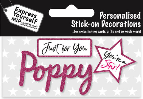Sticker,-,Poppy,Craft, DIY, MIP, Make It Personal, Card Making, Personalised, Flittered, Personalising Cards, Gifts, Notebooks, Albums, Files, Toy Boxes, Door Plaques, Party Bags, Balloons, You Name it, Sticker, Birthday, Words, Stick On Decoration, Pink, Star, Banner