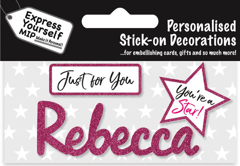 Sticker,-,Rebecca,Craft, DIY, MIP, Make It Personal, Card Making, Personalised, Flittered, Personalising Cards, Gifts, Notebooks, Albums, Files, Toy Boxes, Door Plaques, Party Bags, Balloons, You Name it, Sticker, Birthday, Words, Stick On Decoration, Pink, Star, Banner