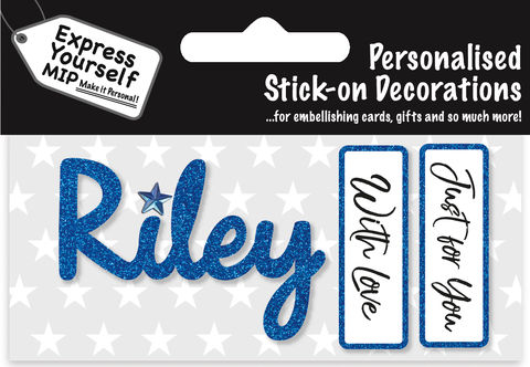 Sticker,-,Riley,Craft, DIY, MIP, Make It Personal, Card Making, Personalised, Flittered, Personalising Cards, Gifts, Notebooks, Albums, Files, Toy Boxes, Door Plaques, Party Bags, Balloons, You Name it, Sticker, Birthday, Words, Stick On Decoration, Blue, Banner