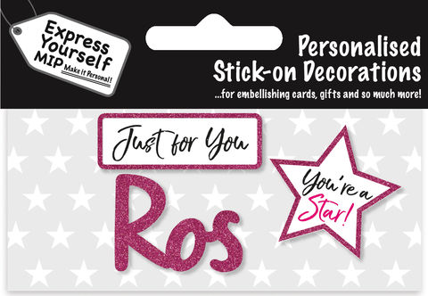 Sticker,-,Ros,Craft, DIY, MIP, Make It Personal, Card Making, Personalised, Flittered, Personalising Cards, Gifts, Notebooks, Albums, Files, Toy Boxes, Door Plaques, Party Bags, Balloons, You Name it, Sticker, Birthday, Words, Stick On Decoration, Pink, Star, Banner