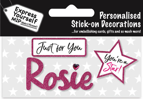 Sticker,-,Rosie,Craft, DIY, MIP, Make It Personal, Card Making, Personalised, Flittered, Personalising Cards, Gifts, Notebooks, Albums, Files, Toy Boxes, Door Plaques, Party Bags, Balloons, You Name it, Sticker, Birthday, Words, Stick On Decoration, Pink, Star, Banner