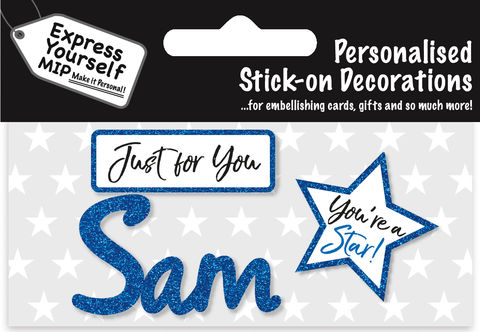 Sticker,-,Sam,Craft, DIY, MIP, Make It Personal, Card Making, Personalised, Flittered, Personalising Cards, Gifts, Notebooks, Albums, Files, Toy Boxes, Door Plaques, Party Bags, Balloons, You Name it, Sticker, Birthday, Words, Stick On Decoration, Blue, Star, Banner