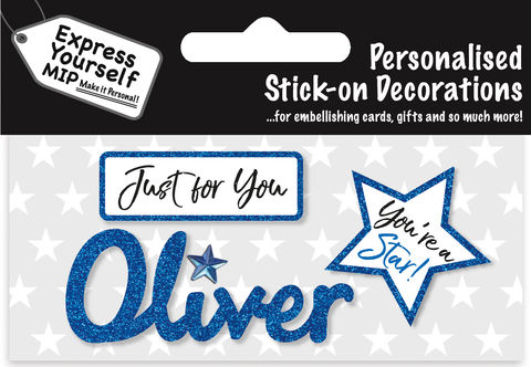 Sticker,-,Oliver,Craft, DIY, MIP, Make It Personal, Card Making, Personalised, Flittered, Personalising Cards, Gifts, Notebooks, Albums, Files, Toy Boxes, Door Plaques, Party Bags, Balloons, You Name it, Sticker, Birthday, Words, Stick On Decoration, Blue, Star, Banner
