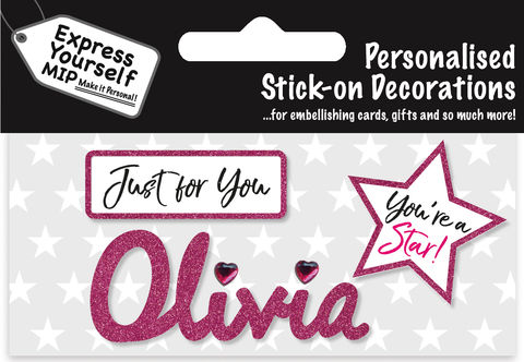 Sticker,-,Olivia,Craft, DIY, MIP, Make It Personal, Card Making, Personalised, Flittered, Personalising Cards, Gifts, Notebooks, Albums, Files, Toy Boxes, Door Plaques, Party Bags, Balloons, You Name it, Sticker, Birthday, Words, Stick On Decoration, Pink, Star, Banner