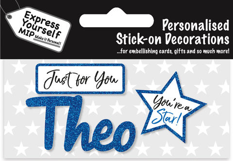 Sticker,-,Theo,Craft, DIY, MIP, Make It Personal, Card Making, Personalised, Flittered, Personalising Cards, Gifts, Notebooks, Albums, Files, Toy Boxes, Door Plaques, Party Bags, Balloons, You Name it, Sticker, Birthday, Words, Stick On Decoration, Blue, Star, Banner