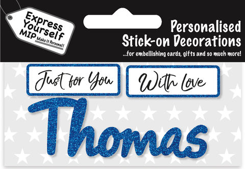 Sticker,-,Thomas,Craft, DIY, MIP, Make It Personal, Card Making, Personalised, Flittered, Personalising Cards, Gifts, Notebooks, Albums, Files, Toy Boxes, Door Plaques, Party Bags, Balloons, You Name it, Sticker, Birthday, Words, Stick On Decoration, Blue, Banner
