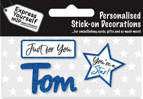Sticker,-,Tom,Craft, DIY, MIP, Make It Personal, Card Making, Personalised, Flittered, Personalising Cards, Gifts, Notebooks, Albums, Files, Toy Boxes, Door Plaques, Party Bags, Balloons, You Name it, Sticker, Birthday, Words, Stick On Decoration, Blue, Star, Banner