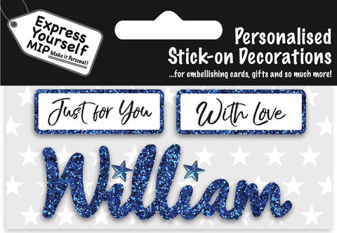 Sticker,-,William,Craft, DIY, MIP, Make It Personal, Card Making, Personalised, Flittered, Personalising Cards, Gifts, Notebooks, Albums, Files, Toy Boxes, Door Plaques, Party Bags, Balloons, You Name it, Sticker, Birthday, Words, Stick On Decoration, Blue, Banner