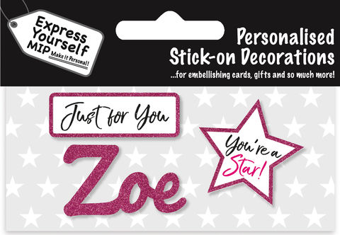 Sticker,-,Zoe,Craft, DIY, MIP, Make It Personal, Card Making, Personalised, Flittered, Personalising Cards, Gifts, Notebooks, Albums, Files, Toy Boxes, Door Plaques, Party Bags, Balloons, You Name it, Sticker, Birthday, Words, Stick On Decoration, Pink, Star, Banner