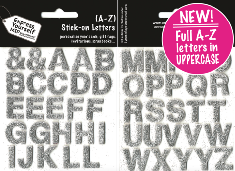 Alpha,Letters,A,-,Z,(Silver),Complete,Alphabet,Craft, Alpha Letters, MIP, A - Z, (Silver) Topper, Complete Alphabet, Die Cut, Self Adhesive