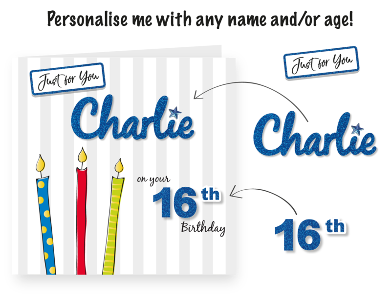 Make It Personal (Blank Card) - Candles On Grey Stripe (On Your Birthday) - product images  of