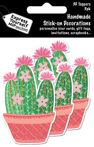 Mini,Multi,Pack,Toppers,-,Cactus,Craft, DIY, MIP, Make It Personal, Card Making, Personalised, Mini Multipack Toppers, Stick On Decoration, Scrapbooks, 3 pack, 3D, Cactus