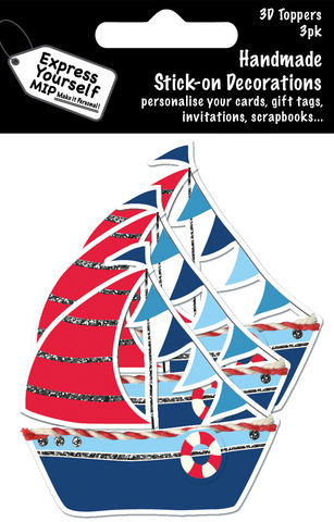 Mini,Multi,Pack,Toppers,-,Sailing,Boat,Craft, DIY, MIP, Make It Personal, Card Making, Personalised, Mini Multipack Toppers, Stick On Decoration, Scrapbooks, 3 pack, 3D, Sailing Boat