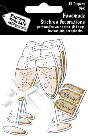 Mini,Multi,Pack,Toppers,-,3,Champagne,Glasses,Craft, DIY, MIP, Make It Personal, Card Making, Personalised, Mini Multipack Toppers, Stick n Decoration, Scrapbooks, 3 pack, 3D, 3 Champagne Glasses
