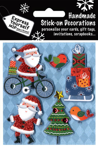 Santa,On,Bicycle,&,Robins,Craft, MIP, DIY, Christmas, Christmas decorations, handmade, Toppers, Personalise, Santa On Bicycle & Robins
