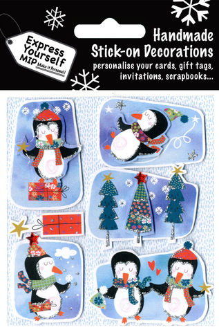 Penguin,Tags,On,Blue,B/G,Craft, MIP, DIY, Christmas, Christmas decorations, handmade, Toppers, Personalise, Penguin Tags On Blue B/G