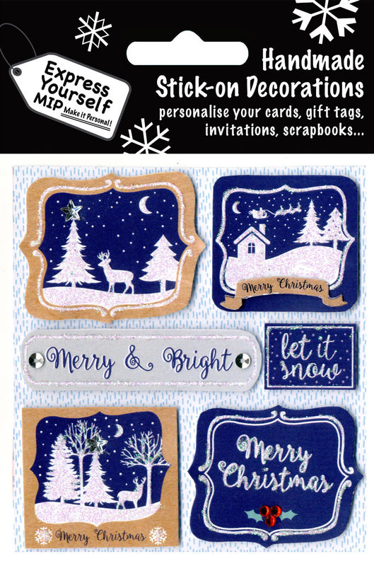 Winter Scenes On Navy Blue B/G - product images