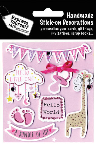 Birth,Baby,Girl,-,Mobile,,Dummy,,Giraffe,Craft, MIP, DIY, Handmade, Toppers, Personalise, Stick On Decoration, Birth, Baby Girl, Icons, Mobile, Dummy, Giraffe, Pink