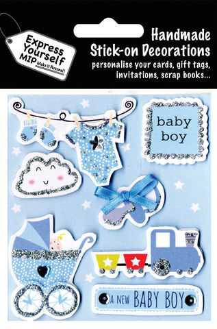 Birth,Baby,Boy,-,Grow,,Socks,,Train,Craft, MIP, DIY, Handmade, Toppers, Personalise, Stick On Decoration, Birth, Baby Boy, Icons, Pram, Clothes, Buggy, Dummy, Train, Toys, Blue