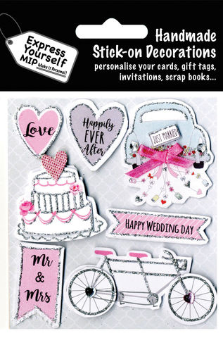 Wedding,Day,-,Just,Married,Car,,Cake,And,Bike,Craft, MIP, DIY, Handmade, Toppers, Personalise, Stick On Decoration, Wedding, Just Married Car, Cake, Bike, Couple, Celebration