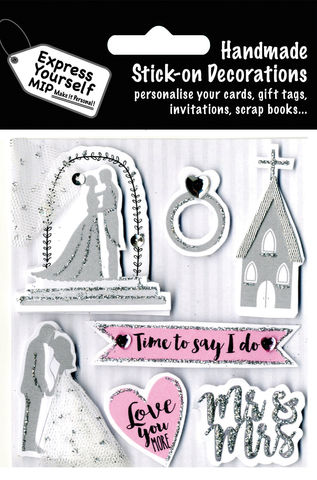 Wedding,Day,-,Church,,Couple,Kissing,&,Ring,Craft, MIP, DIY, Handmade, Toppers, Personalise, Stick On Decoration, Wedding, Couple, Celebration, Church, Couple Kissing, Ring