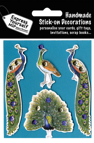 Peacocks,Craft, MIP, DIY, Handmade, Toppers, Personalise, Stick On Decoration, Peacocks, Animal, Blue