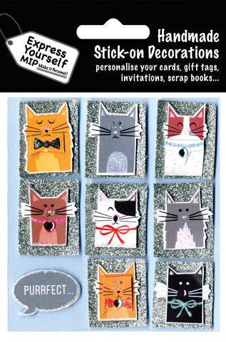 Cats,Craft, MIP, DIY, Handmade, Toppers, Personalise, Stick On Decoration, Cats, Animal, Purrfect Banner