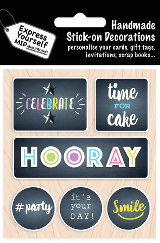 Hooray,Captions,Craft, MIP, DIY, Handmade, Toppers, Personalise, Stick On Decoration, Hooray Captions, Celebrate