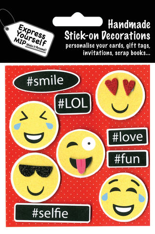 Emoji,And,#Captions,Craft, MIP, DIY, Handmade, Toppers, Personalise, Stick On Decoration, Emoji And #Captions, Smily Face