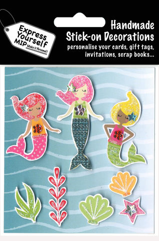 Mermaids,Craft, MIP, DIY, Handmade, Toppers, Personalise, Stick On Decoration, Mermaids, Sea