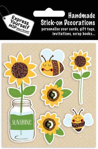 Bees,&,Sunflowers,Craft, MIP, DIY, Handmade, Toppers, Personalise, Stick On Decoration, Bees, Sunflowers