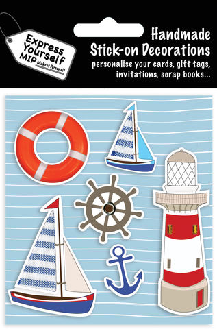 Sail,Boats,&,Lighthouse,Craft, MIP, DIY, Handmade, Toppers, Personalise, Stick On Decoration,  Sail Boats, Lighthouse