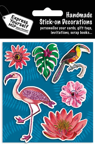 Flamingos,&,Flowers,Craft, MIP, DIY, Handmade, Toppers, Personalise, Stick On Decoration, Flamingos, Flowers